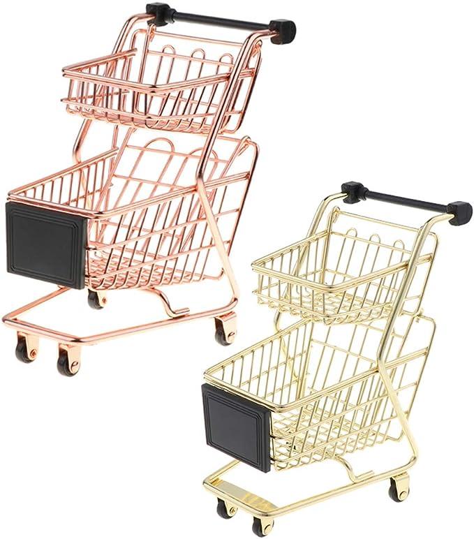 B Blesiya Mini Carro de Compra de Supermercado de Simulaci/ón Organizador de Escritorio Juguete Divertido para Ni/ños Adultos Oro Rosa