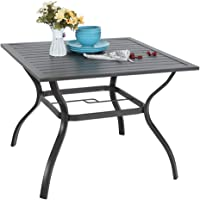 MFSTUDIO 37″ Metal Steel Slat Patio Dining Table Square Backyard Bistro Table Outdoor Furniture Garden Table, 1.57€ Umbrella Hole, Black