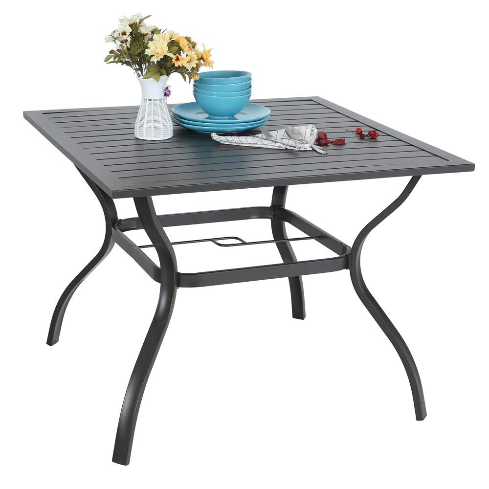 PHI VILLA 37'' x 37'' Outdoor Dining Table Square Patio Bistro Table Powder-Coated Steel Frame Top Umbrella Stand Deck Outdoor Furniture Garden Table, Ash Black