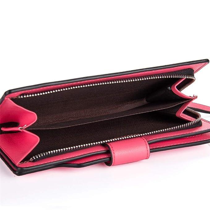 Amazon.com: Women Wallets Leather Zipper Wallet Womens Long Design Purse Two Fold More Color Clutch Carteira Feminina Red