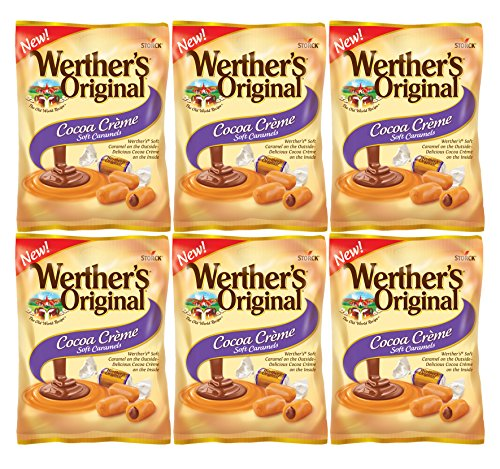 Set of 6 - 2.22oz Werthers Cocoa Creme Soft Caramel Sweets Perfect for a Valentine's Day Gift ♡ Savory Delicious Treats to Show Them Your Love and Appreciation ♡