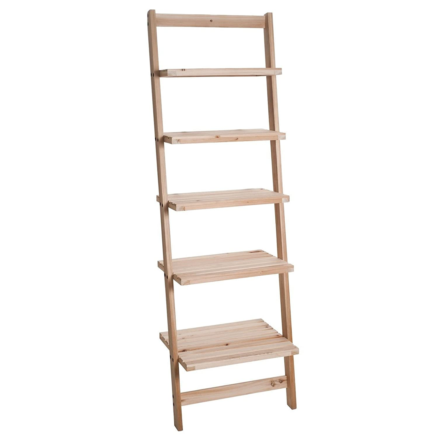 Five Tier Ladder Style Wooden Storage Shelf Top Store Discounts