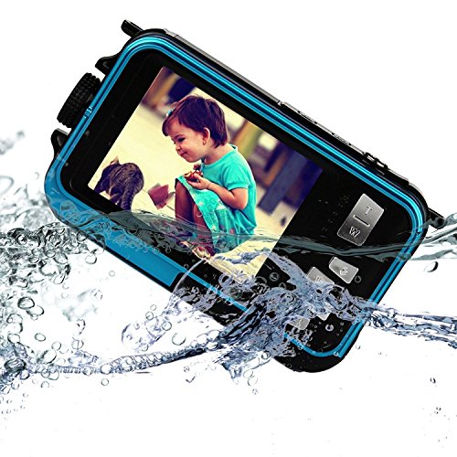 KINGEAR KG0008 Double Screens Waterproof Digital Camera 2.7-Inch Front LCD with 2.7inch Camera–Blue