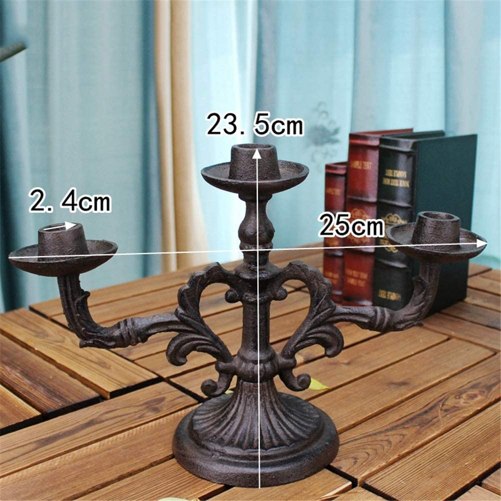 Hand Crafted Cast Iron Fireplace Candelabrum American Country Style for Christmas Wedding Dinning 23.5cm High 3 Arm Candelabra