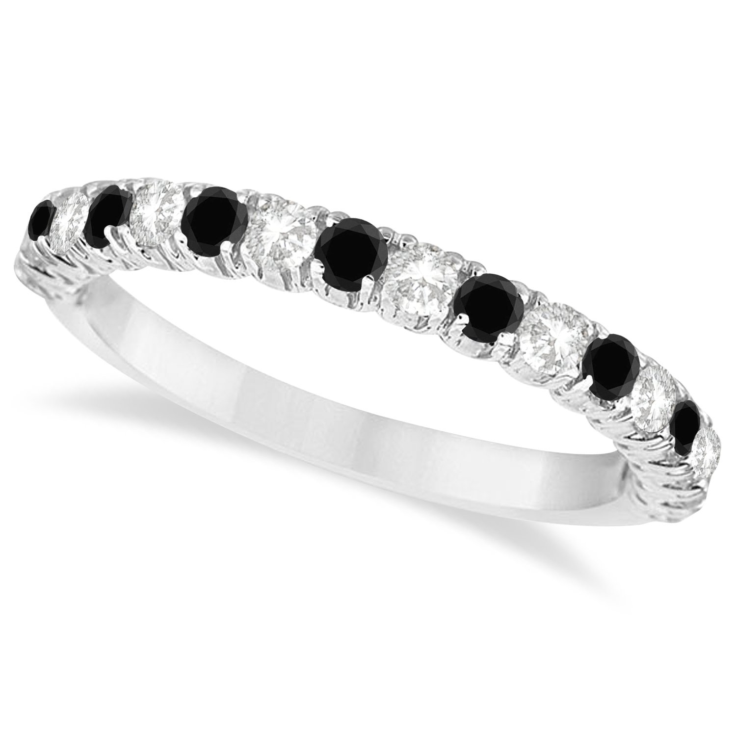 Black and White Diamond Wedding Band Anniversary Ring in 14k White Gold (0.75ct)