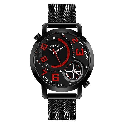 Skmei 9168 Hombres Cuarzo Doble Tiempo Mostrar Impermeable de Acero Inoxidable Relojes Hombre Reloj Relogio Masculino: Amazon.es: Relojes