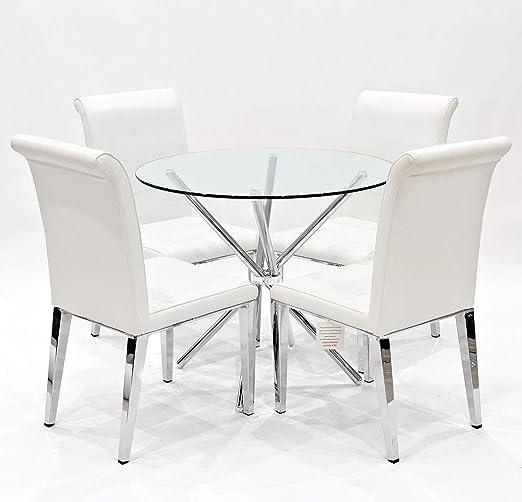 The Look Criss Mesa de Comedor Redonda + 4 sillas de Comedor ...