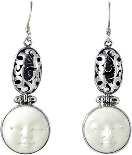 Amazon Com Sterling Silver And Carved Bone Earrings Jewelry