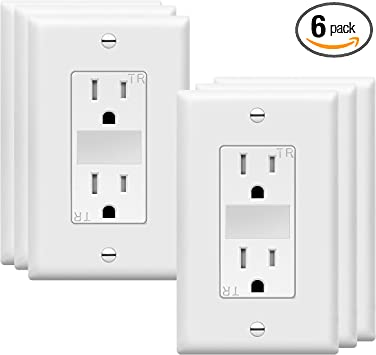 TOPGREENER LED Guide Light Decorator Outlet Combination with Automatic Night/Day Sensor Decorator Duplex Outlet Combination, 125VAC/15A Tamper-Resistant Receptacle, TG215TRGL-6PCS, White (6 Pack)