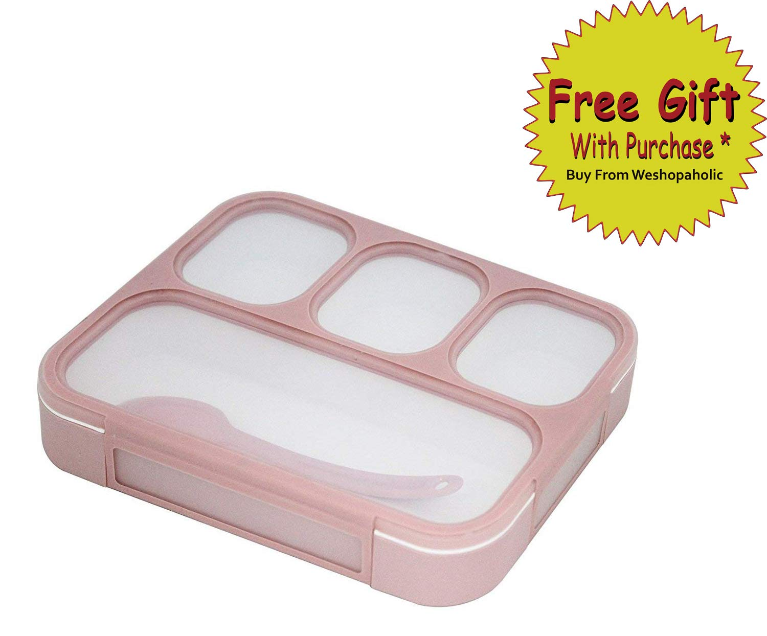 Shopaholic Plastic Innovative and Durable Lunch Box with 4 in 1 Slots (pink grid lunch box578)