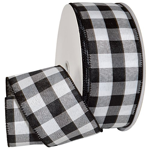 Christmas Wired Ribbon (Morex Ribbon Cambridge Wired Gingham Plaid Ribbon, Black, 2-1/2