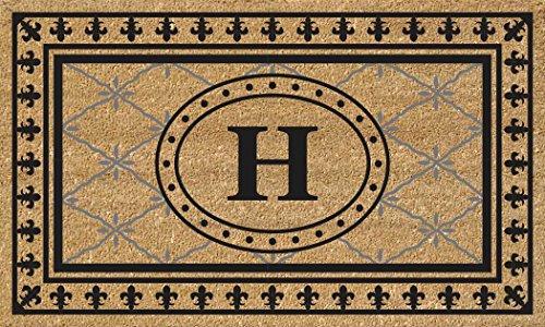 (Nedia Home Super Scraper Bungalow Vinyl Coir Doormat, Monogrammed H, 18 x 30