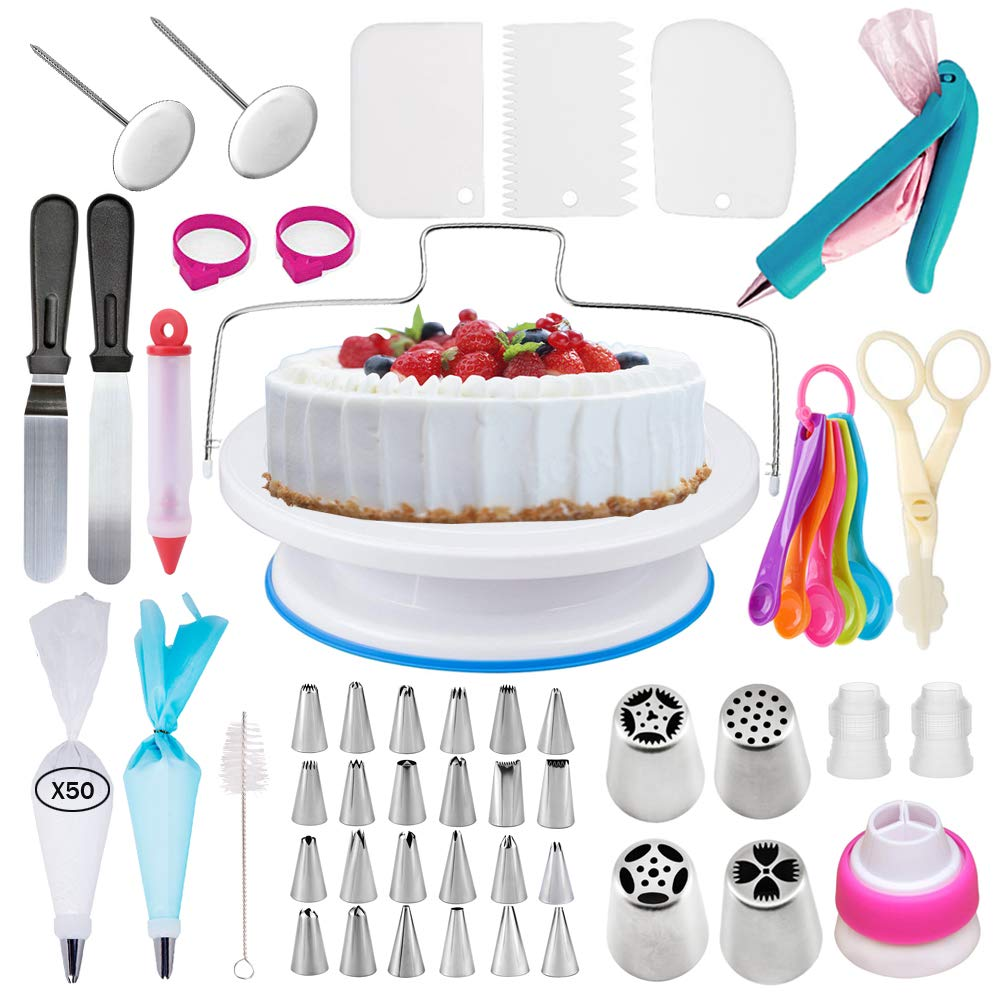 Cake Decorating Supplies Kit With Cake Turntable Stand- Extended 127pcs  Baking Supplies Baking Set Includes: Rotating Turntable Stand, Frosting,