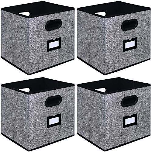Onlyeasy Cloth Storage Bins – Foldable Basket Cubes Organizer Container Drawers with Dual Handles for Shelves Closet Nursery Organization, 10.5×10.5×11 in, 4 Pack Black, 8MXABS04PL