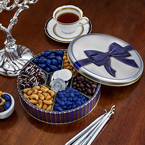 Chocolate and Nuts Gourmet Gift Basket | Christmas or Hanukkah Holiday and All Occasions | Navy Bow Keepsake Tin Design | Dairy Free, Deluxe Snack Sampler