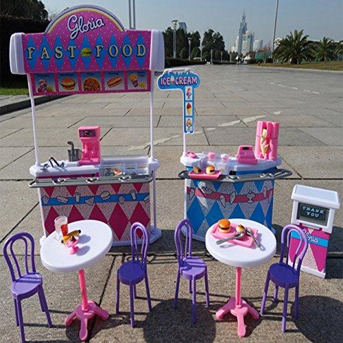 Pretend Kitchen Furniture (Lanlan Dollhouse Furniture Kitchen Burger Fast Food Restaurant Pretend Play Fun Playset Toys for Baby Barbie Girls Furniture does not contain dolls)
