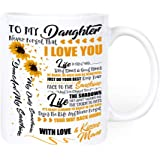 Sunflower to my Daughter never forget that I Love You Mug - You are my Sunshine, Christmas presents mugs from mom, Wedding, G