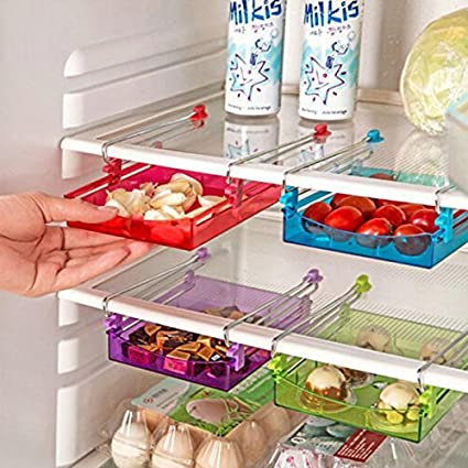 Multipurpose Fridge Storage Sliding Drawer Freezer Storage Shelf  Refrigerator Organizer Space Saver Shelf By Unknown