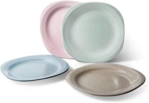 Dinner Plates Set of 4, 7.3inch Kids Wheat Straw Plate, Microwave and Dishwasher, Safe Eco Friendly, Lightweight Unbreakable Wheat, Easy to Clean, Dishes for Dinner, Fruit, Snack