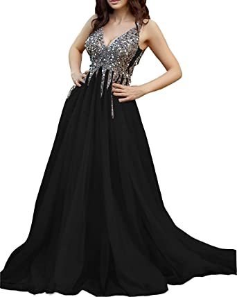 fc842ccd1cf Ever-Beauty Womens Beaded V-Neck Prom Dress 2019 Long Sleeveless Tulle  Evening Formal