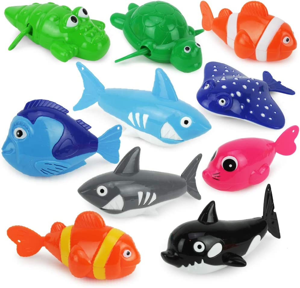 Boley Wind Up Sea Animals - 10 Piece Set - Toddler and Baby Bath Toys - Bathtub, Beach, and Pool Toys for Toddlers and Kids