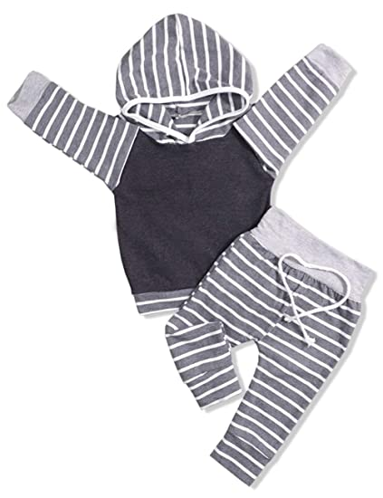 0a8157622 Amazon.com  Newborn Baby Boy Clothes Long Sleeve Hoodie Sweatshirt ...