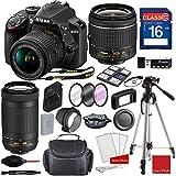 Nikon D3400 DX-format Digital SLR w/AF-P DX NIKKOR 18-55mm f/3.5-5.6G VR Lens + AF-P DX NIKKOR 70-300mm f/4.5-6.3G ED + Professional Accessory Bundle (18 Items)