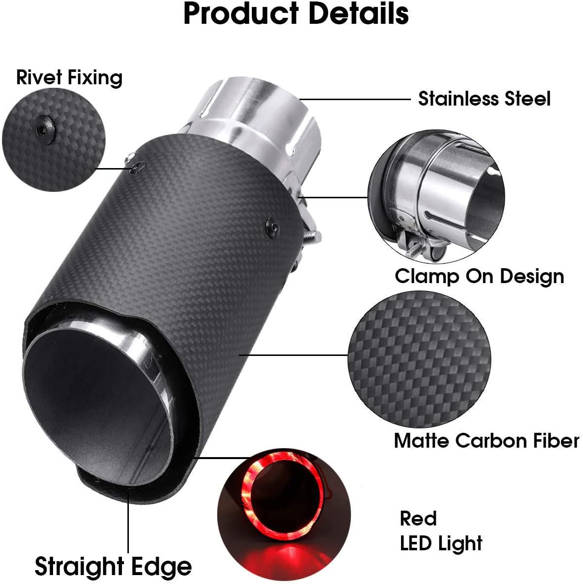 2.5/'/' Inlet Carbon Fiber Stainless Steel Exhaust Muffler Tip Pipe Red LED Light