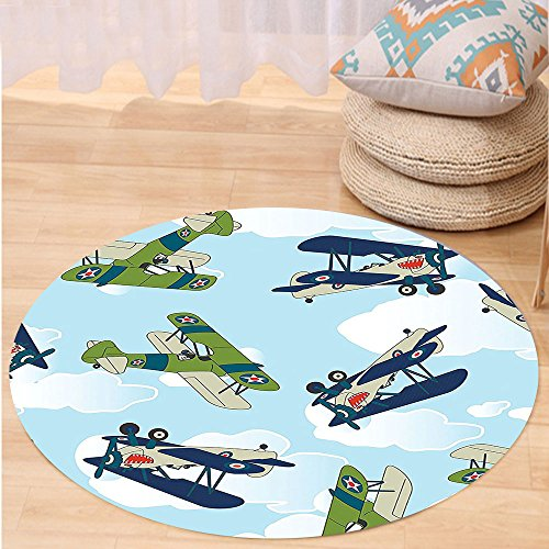 Allied Plastic Heated Pet Mat (VROSELV Custom carpetAirplane Decor Collection Vintage Allied Plane Flying Pattern Cartoon Children Kids Repeating Toys Shark Teeth Image Bedroom Living Room Dorm Blue Round 72 inches)