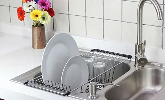Exceptionnel Amazon.com   Neat O Over The Sink Kitchen Dish Drainer Rack, Durable  Chrome Plated Steel (Black)