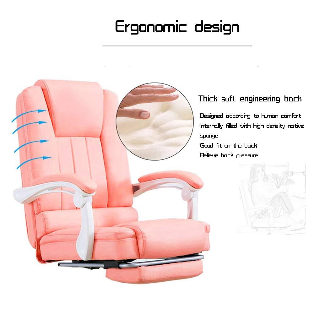 Läder skrivbord spelstol med fotstöd hög rygg vilande verkställande ergonomisk kontorsstol bärkapacitet: 150 kg (färg: Rosa) vit