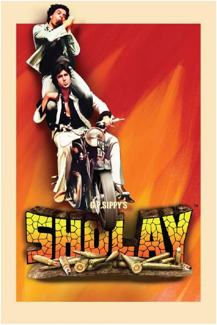 Sholay Jai and Veeru 12 x 18 Inch Unframed Bollywood Paper Poster