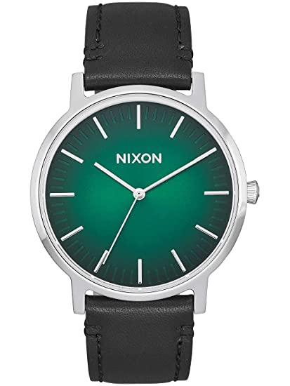 Nixon - Porter Leather 40mm Green Ombre / Black - Reloj Hombre: Amazon.es: Relojes