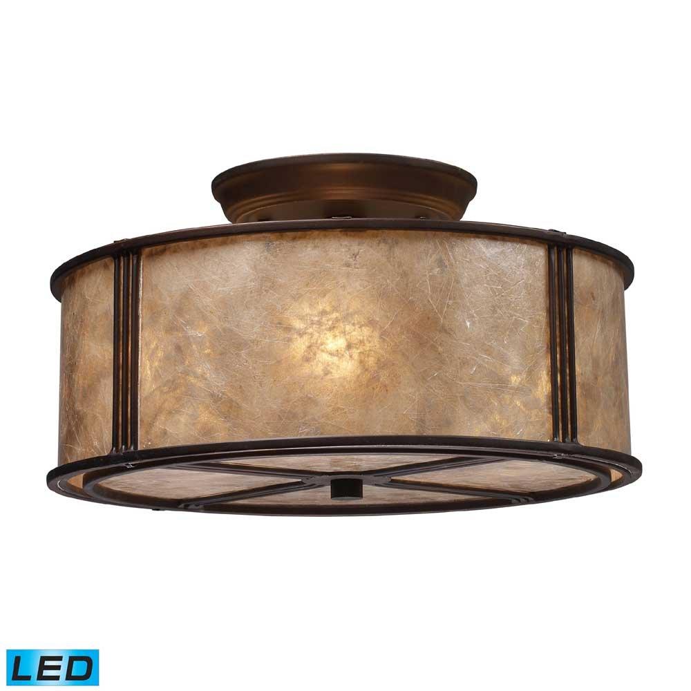 ELK 15031/3-LED, Barringer Mica Semi Flush Ceiling Lighting, 3 Light LED, Aged Bronze by ELK