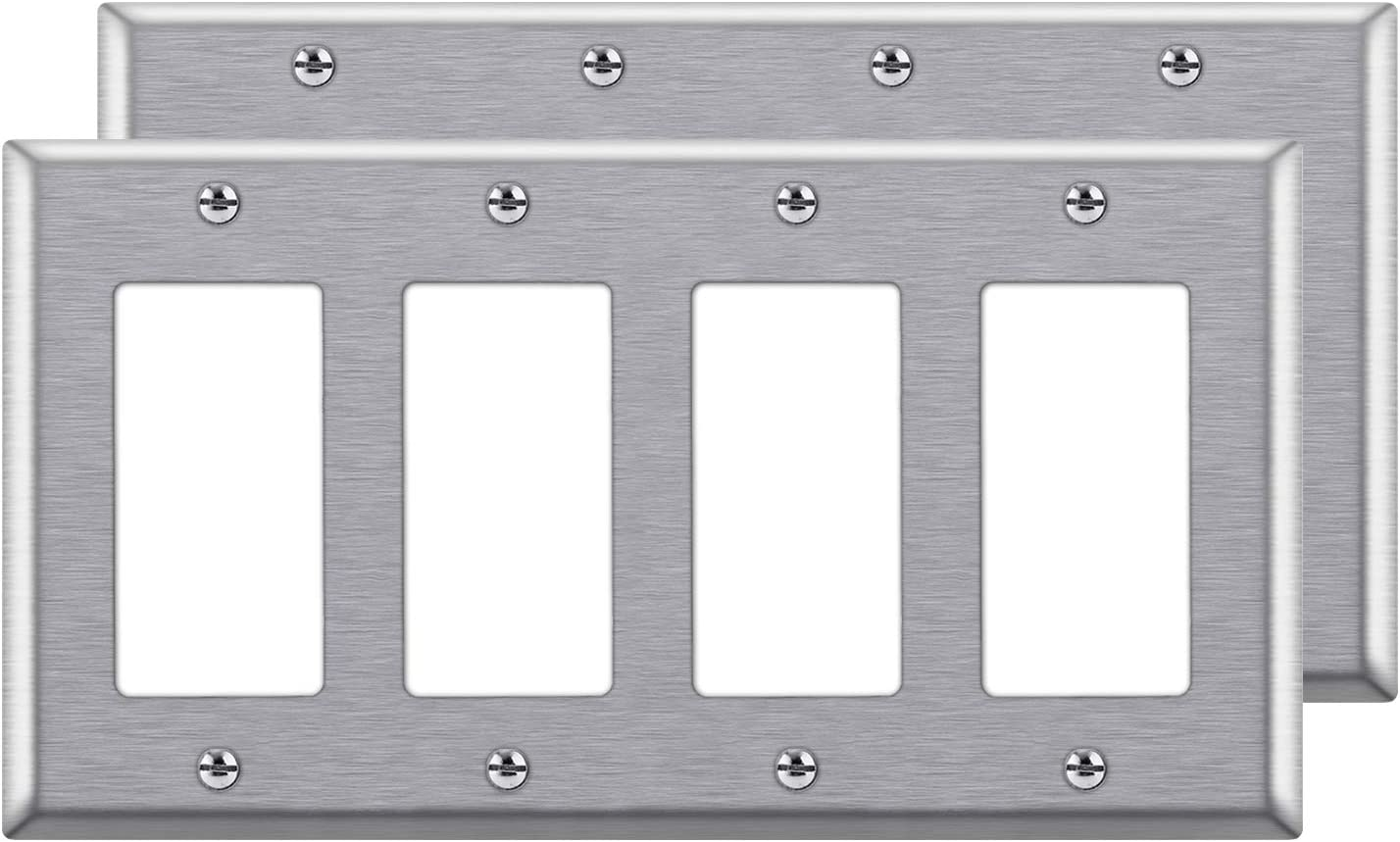 """[2 Pack] BESTTEN 4-Gang Decorator Metal Wall Plate, Standard Size 4.5"""" x 8.187"""", Stainless Steel Outlet Cover, UL listed, Silver"""