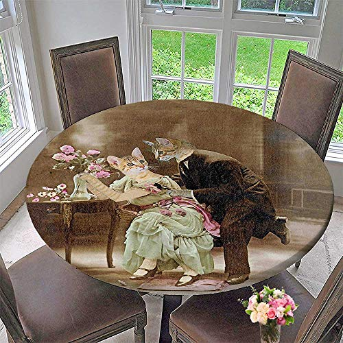 Mikihome Modern Table Cloth Painting of Two Kittens Dating Victorian Couple Romance Love Theme Brown Pale Green Indoor or Outdoor Parties 35.5