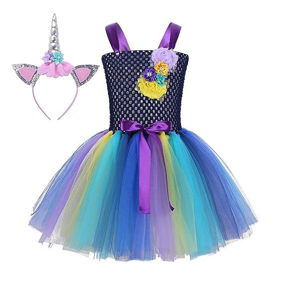 Alvivi Niña Princesa Vestido Unicornio Disfraz de Cosplay ...