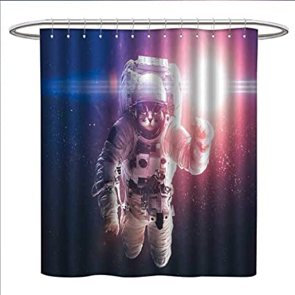 Jinguizi Space Cat Shower Curtains Digital Printing Flying Without Gravity With Clusters Planet Eclipse Image