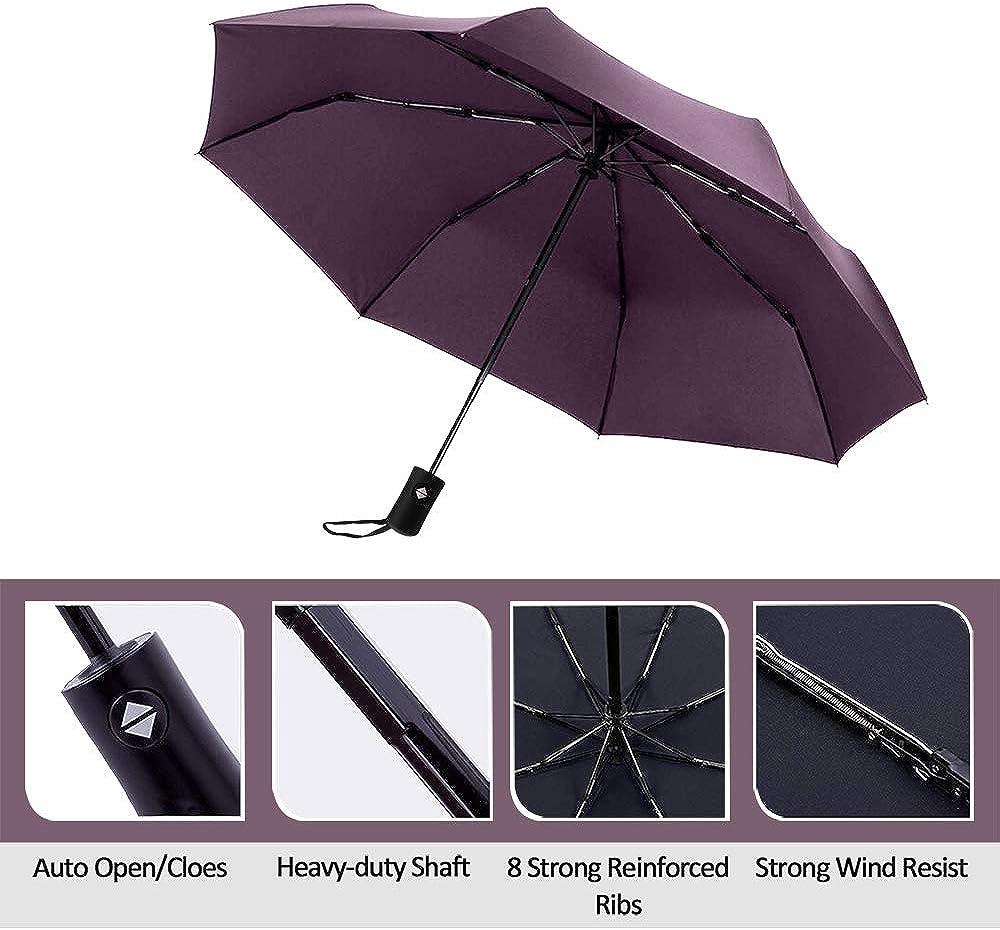 Folding Lightweight/Automatic Open and Close/Umbrellas/for Women Men,Portable with Umbrella Cover . Purple Marriarics/Compact Travel Rain Umbrella