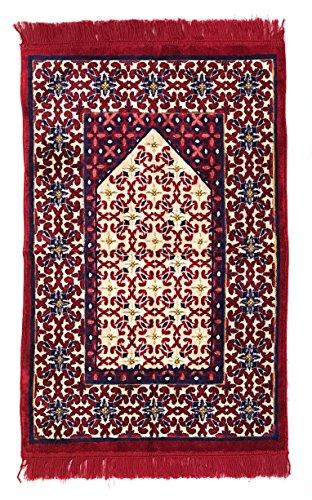 (Muslim Bookmark - Extra Plush Islamic Prayer Rugs   Genuine Turkish Prayer Mat with Extra Soft Comfortable Fabric   Ramadan & Eid   Floral & Geometric Designs (Mihrab with Flower)