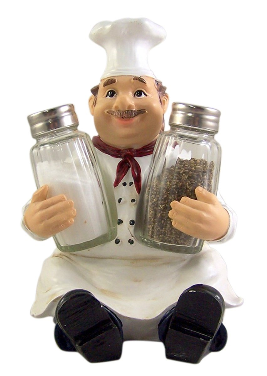 French Chef Salt and Pepper Shaker Holder 7 1/4 Inch (Shakers Included)