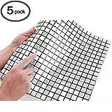 ROSEROSA Peel and Stick Tile Metal Backsplash for Kitchen, Wall Tiles Aluminum Surface : Pack of 5 (Metal-406)