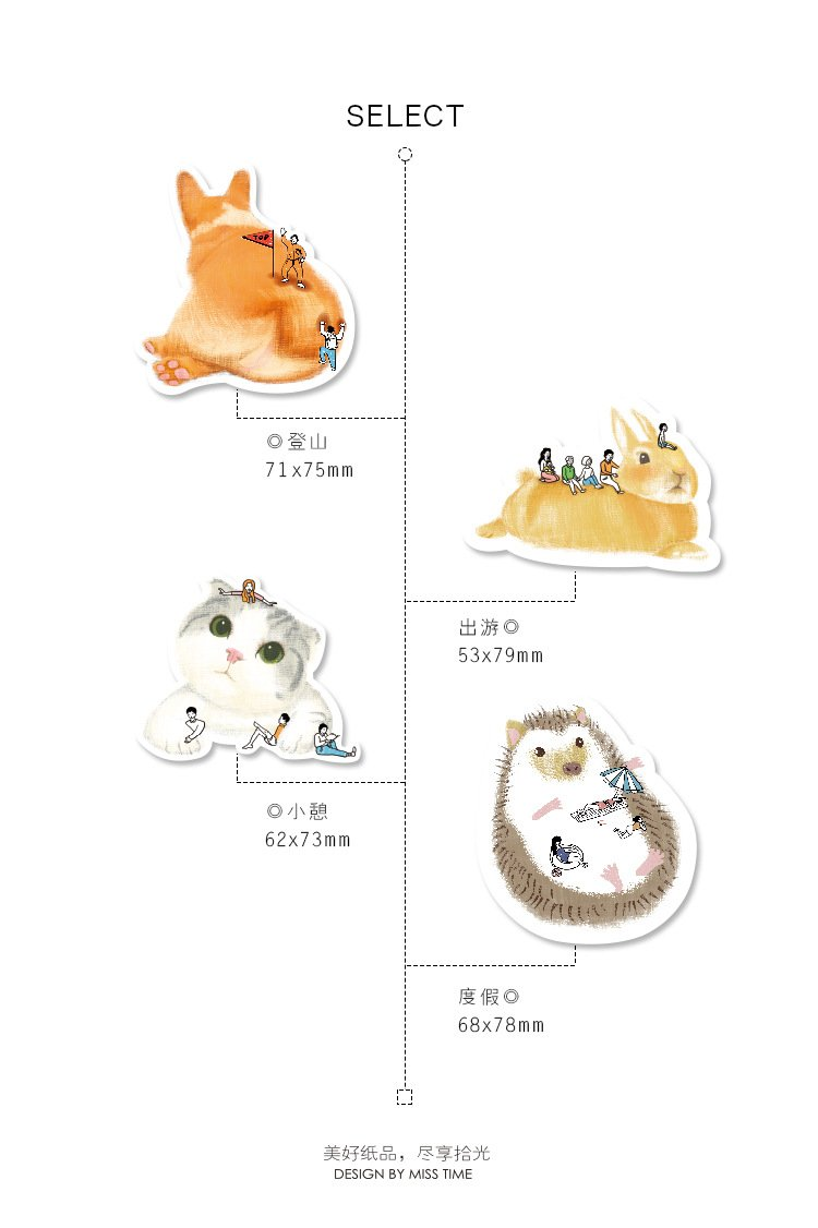 4pk Cute Animals Mini Sticky Notes Bookmark Memo Index Tab Page Markers Pads