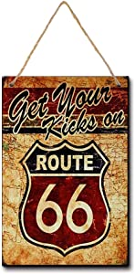 XUNXINYOUBI Get Your Kicks on Route 66 Antique Motor Oil, Vintage, Wood Sign for The Garage (W3087)