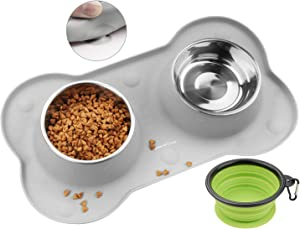YOPINLIVE Double Dog Bowl, Pet Feeding Station, Stainless Steel Water and Food Bowls with Non Skid Non Spill Silicone Mat, Premium Quality Dog Bowl Holder for Mini Small Medium Dogs Cats Puppy