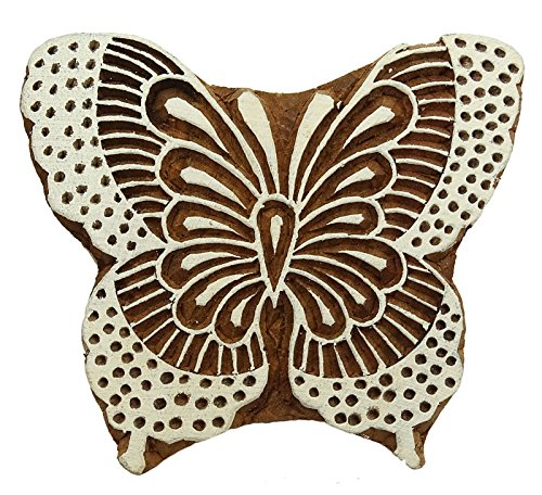 Butterfly Wooden Stamp (Hand Carved Butterfly Pattern Textile Wood Stamp Printing Blocks Wooden Block)