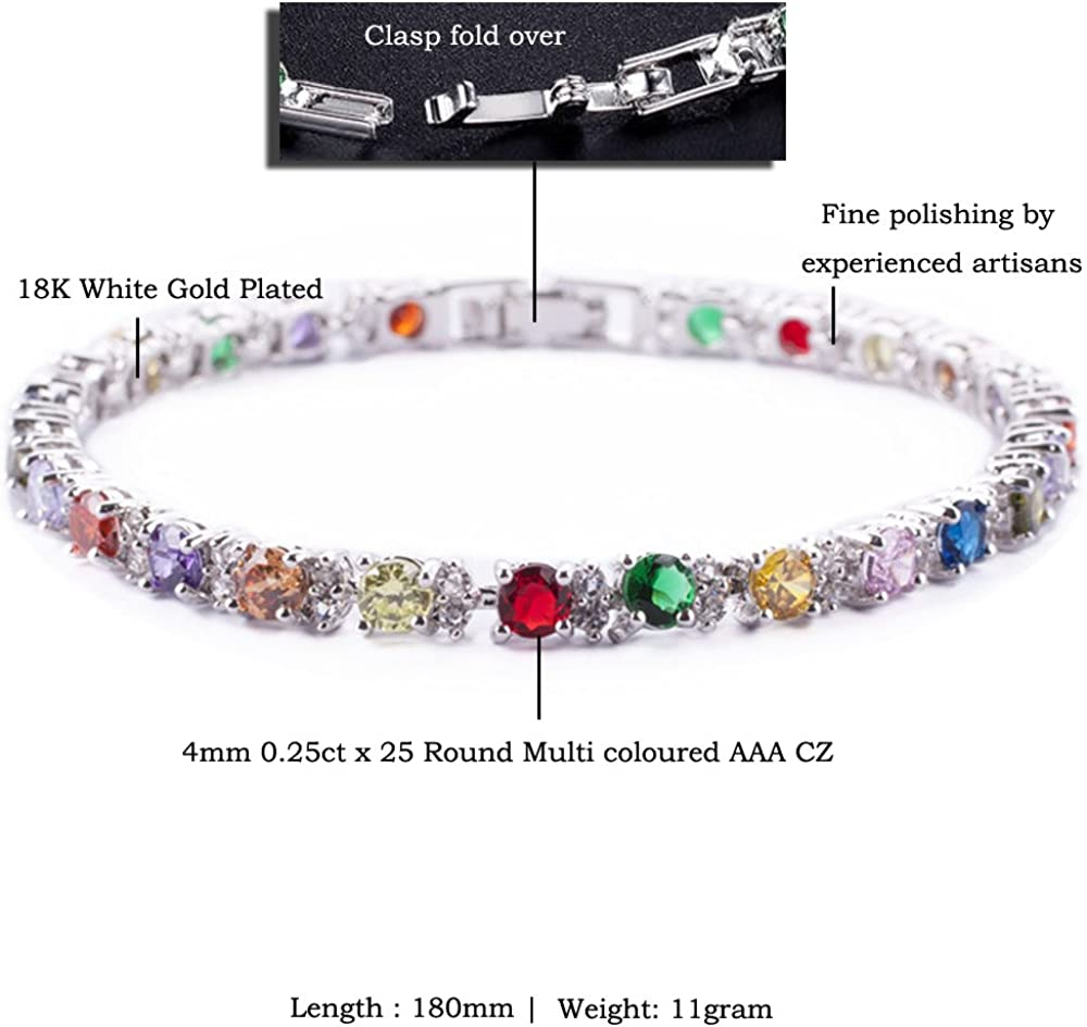 7inch 18cm Rizilia Round Multicolore CZ Birthstone Or Blanc plaqu/é Bracelet de Tennis