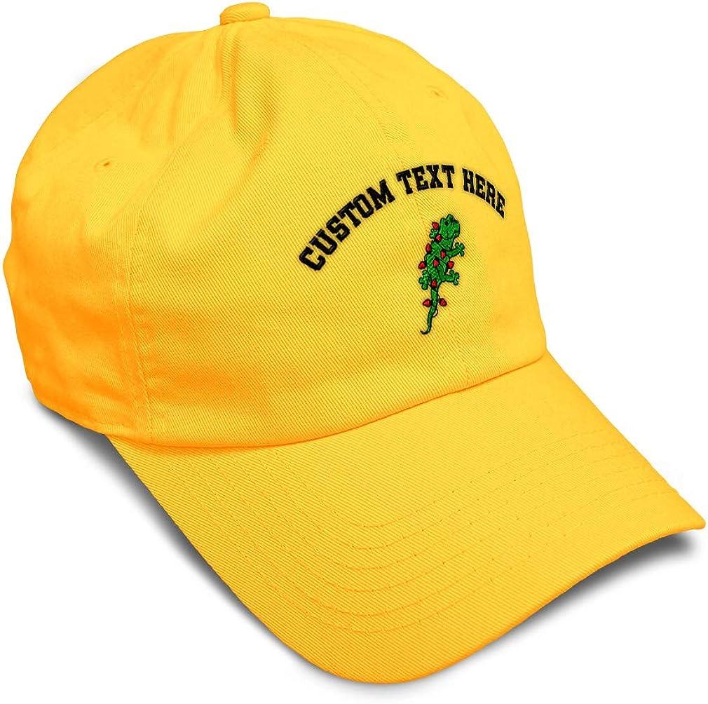 Custom Soft Baseball Cap Christmas Gecko Embroidery Dad Hats for Men /& Women