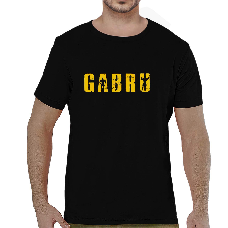 7672b46eda Pooplu Mens Gabru Text Cotton Printed Round Neck Half Sleeves Multicolour t. Shirt. Punjabi, Punjab, JAAT, JAT, Haryana Tshirt,Funny Tshirt,Quotes: ...