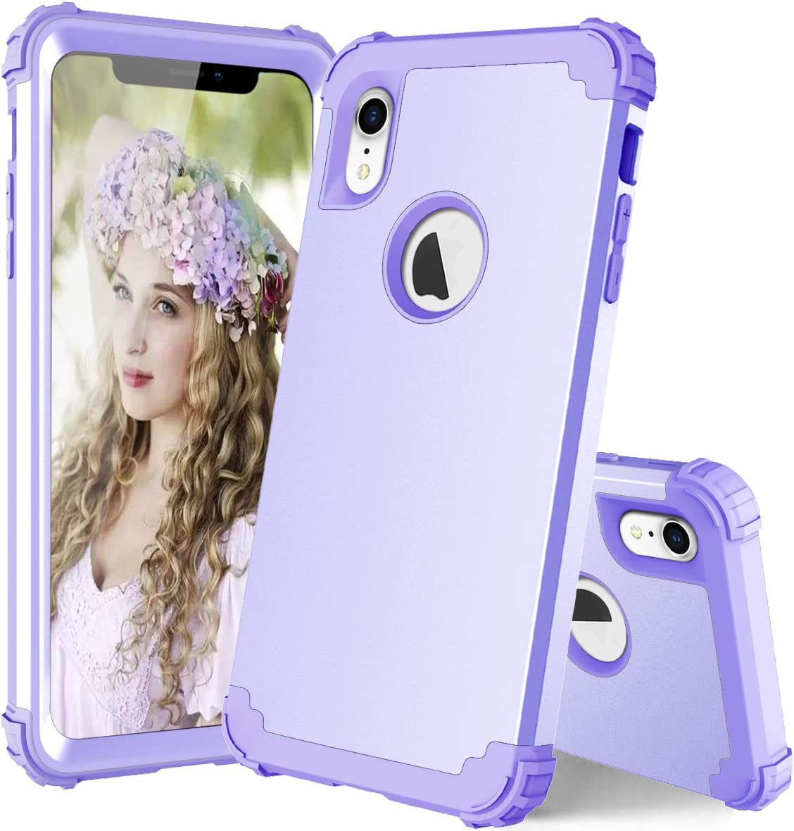 Phone Case for iPhone XR Hard Cover Shockproof Soft Silicone Hybrid Heavy Duty Protective Cell Accessories iPhoneXR iPhone10R i Phonex 10XR 10R 10 R RX CR iPhoneXRcases Cases Women Girl Purple